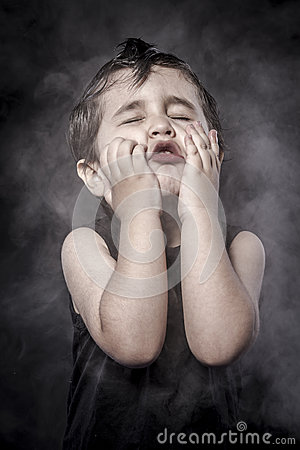 Free Actor,child Rocker Dress And Funny Expressions Crested Stock Image - 34794531