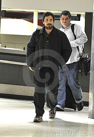 Actor Christian Bale with beard at LAX airport Editorial Stock Image