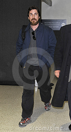 Actor Christian Bale with beard at LAX airport Editorial Photography