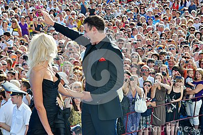 Actor Dmitry Dyuzhev with his wife Tatiana Editorial Stock Photo