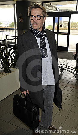 Actor Gary Oldman at LAX airport Editorial Stock Image