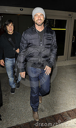 Actor Gerard Butler is seen at LAX airport Editorial Stock Photo