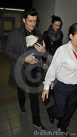 Actor Orlando Bloom ,Miranda Kerr & baby at LAX Editorial Stock Image