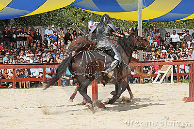 Actors as medieval knights Editorial Stock Photo