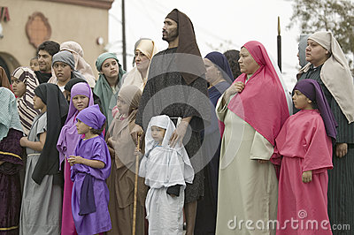 Actors during the Passion play Editorial Image