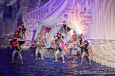 Actors during performance of musical fairytale Editorial Stock Image