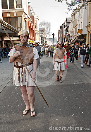 Actors playing Roman soldiers Editorial Photo