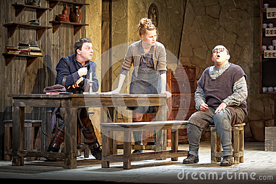 Actors on stage of Taganka Theatre Editorial Image