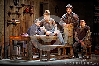 Actors on stage of Taganka Theatre perform playby famous contemporary Editorial Stock Image
