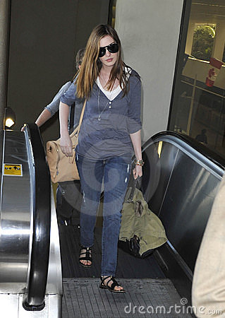 Actress Anne Hathaway at LAX airport Editorial Photo