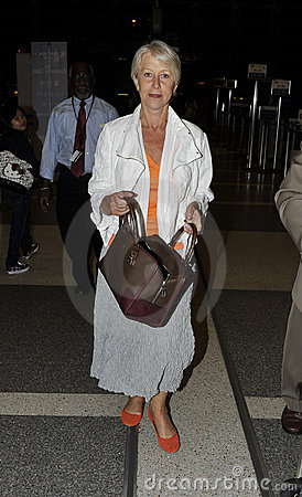 Actress Dame Helen Mirren at LAX airport Editorial Image