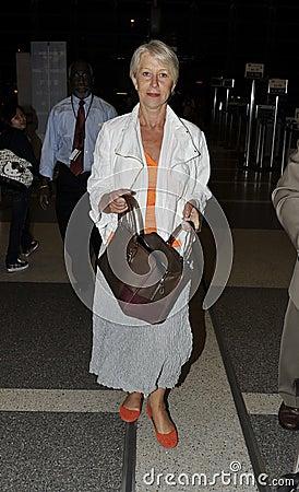 Actress Dame Helen Mirren at LAX airport Editorial Image