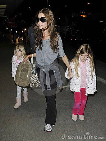 Actress Denise Richards with daughters at at LAX Editorial Stock Image