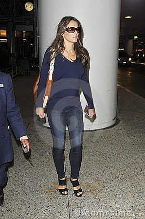 Actress Elizabeth Hurley at LAX airport Editorial Image
