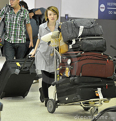 Actress Emily Browning at LAX airport Editorial Photo