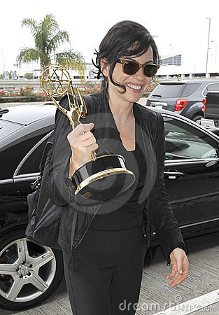 Actress Julianne Margulies & emmy award at LAX Editorial Photo