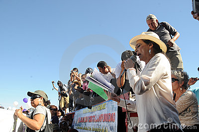 Actress Ofelia Medina speaks during protest Editorial Stock Image