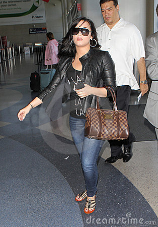 Actress/singer Demi Lovato at LAX airport. Editorial Image