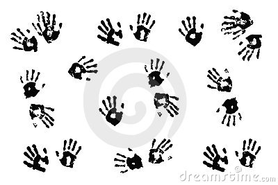 Actual children s handprints on white