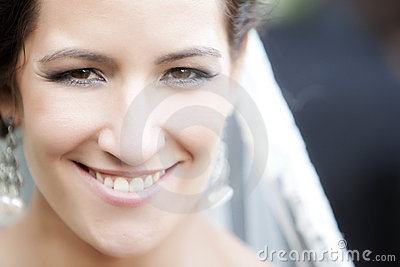 Actual happy bride portrait.