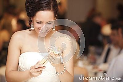 Actual happy bride portrait.