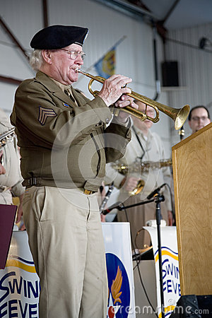 Actual trumpeter from World War II Editorial Stock Photo