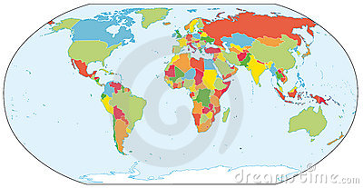 Actual world political map
