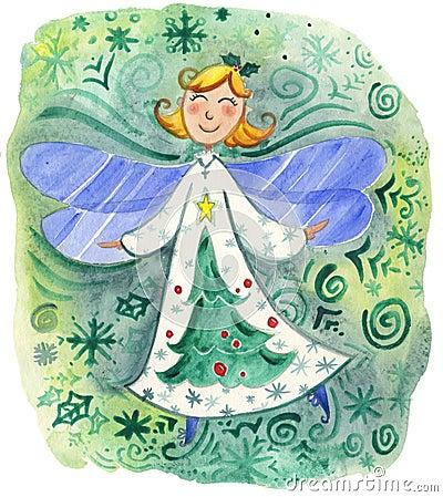 Acuarela linda del duende de la Navidad