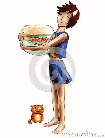 Acuario grande y pequeño gato