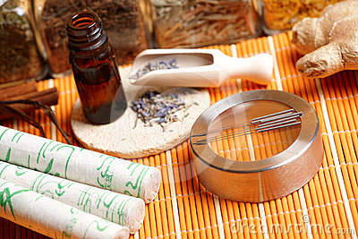 Acupuncture needles, moxa sticks and lavender