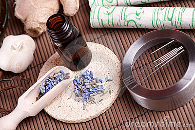 Acupuncture needles, moxa sticks and TCM herbs