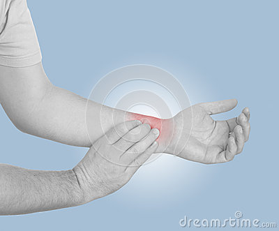 Acute pain in a man wrist