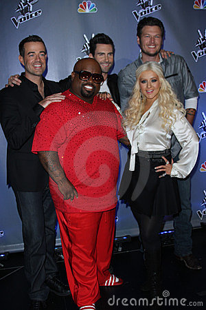 Adam Levine, Blake Shelton, Carson Daly, Cee Lo, Cee Lo Green, Cee-Lo, Cee-Lo Green, Christina Aguilera Editorial Stock Image