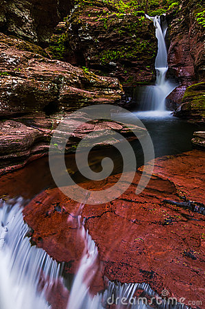 Free Adam S Falls And A Small Cascade On Kitchen Creek In Ricketts Gl Royalty Free Stock Image - 47749736