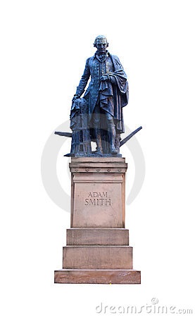 Adam Smith statue isolated