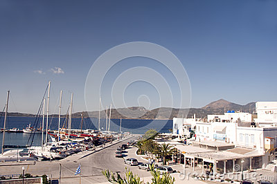 Adamas Milos Greek Island harbor view Editorial Image