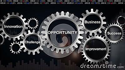 Adapte con la palabra clave, negocio, desafío, innovación, mejora, éxito, pantalla táctil del hombre de negocios 'OPORTUNIDAD' almacen de metraje de vídeo