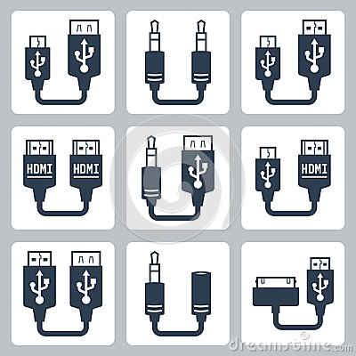 Free Adapter Connectors Vector Icons Royalty Free Stock Photography - 42806667