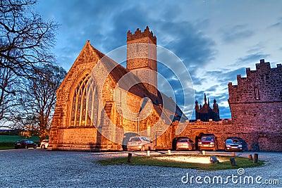 Adare abbey at night