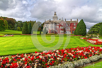 Adare gardens and castle in red ivy