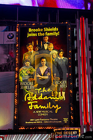 The Addams Family billboard, Times Sq. NYC. Editorial Stock Photo