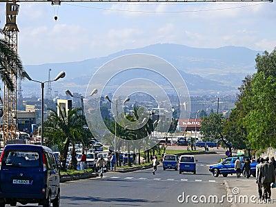 ADDIS ABABA, ETHIOPIA - NOVEMBER 25, 2008: Settlement. Busy road