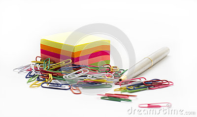Adhesive note paper, with paperclips and pen