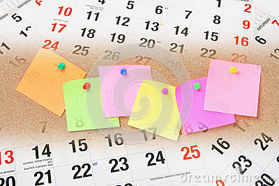 Adhesive Note Papers and Calendar Pages