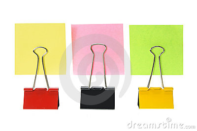 Adhesive Note Papers and Paper Clips