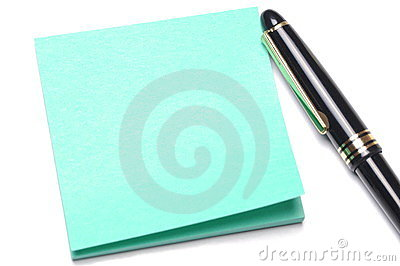 Adhesive note and pen