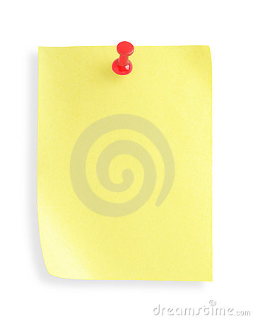 Adhesive note  with pushpin(with clipping path)