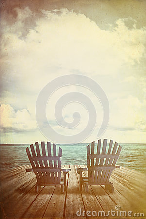 Free Adirondack Chairs On Dock With Vintage Textures And Feel Royalty Free Stock Photos - 54729498