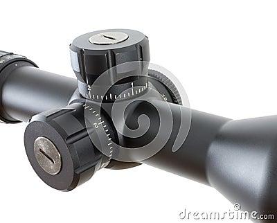 Adjustment knobs on a riflescope
