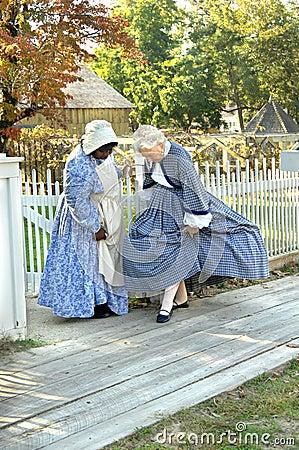 Admiring civil war era costumes